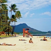 Diamond Head Waikiki Beach, Honolulu, Hawaii.