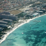 Aerial view of Palm Beach, Aruba