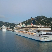 Carnival Cruise Ship at Charlotte Amalie harbor, St. Thomas, US Virgin Islands.